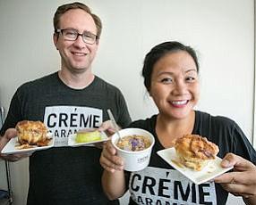 Bon Appetit: Sean Gilleland, left, and Kristine de la Cruz with their delicacies.