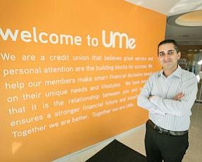 Redesign: UMe CEO Robert Einstein, at the Burbank credit union's headquarters, which were rebuilt in 2010.