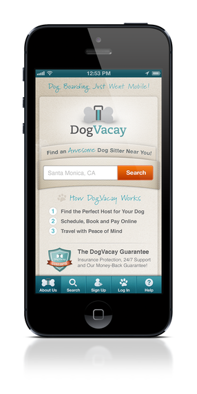 The DogVacay app, which launched on Monday. Photo courtesy of DogVacay.