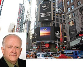 """Fuller: """"when you have limited resources you start in the strongest markets""""  (inset).  Pretrip promo: OCVA announced its visit to China in Times Square"""