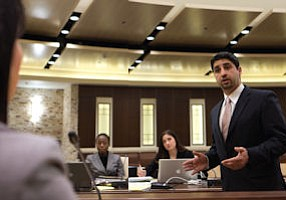 Opening arguments: former Whittier Law School student Payvand Moghaddas practices his courtroom skills