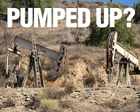Strike: Pumps work Placerita Canyon oil field west of the Antelope Valley (14) Freeway.