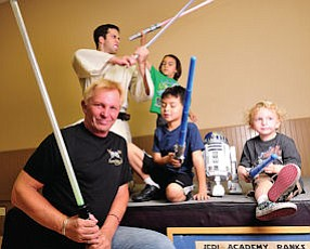 Saber Rattling: Tim Weske and crew at his Jedi Academy in Burbank.