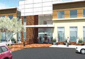 Hoag's newest addition: rendering of entrance at outpatient center