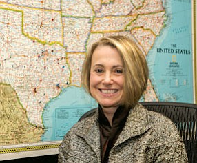 On Point: Wendy Simpson, chairwoman and CEO of LTC Properties, in her office with map displaying company holdings.