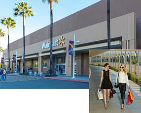 Alton Marketplace: new Walmart helped center to biggest gain on this year's list.  Inset:  South Coast Plaza: still OC's top shopping center.