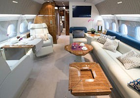 Martini Please: Full-size interior of CJ318 coporate business jet.