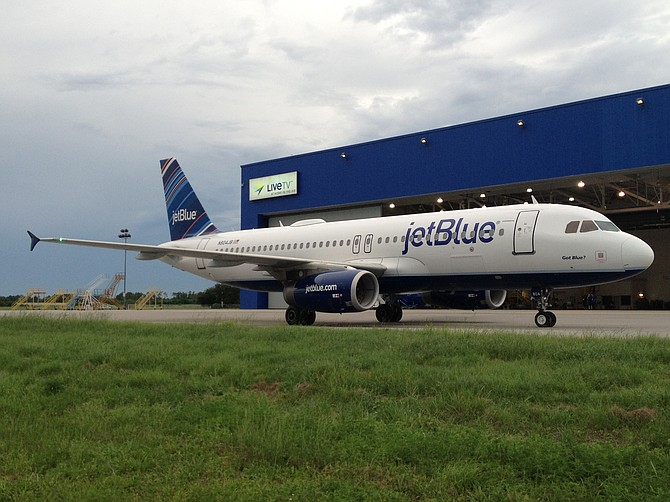 JetBlue Airways debuted its Fly-Fi wireless Internet service, which is powered by technology and a satellite from Carlsbad-based ViaSat Inc.