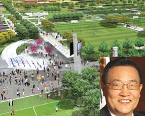 "Sports park: rendition of fields, other amenities included in more-than-$200-million plan. | (inset) Choi: Broadcom ""committed to locating their new headquarters on FivePoint Communities' land"