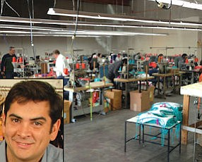 (inset) Bhathal: domestic manufacturing allows quicker reactions to retail trends.  Santa Fe Springs: proximity to pool of experienced garment workers here and in Los Angeles.