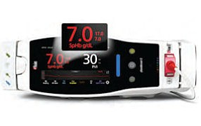 SpHb monitor: called first, only FDA-approved technology that continuously measures blood hemoglobin without needle stick