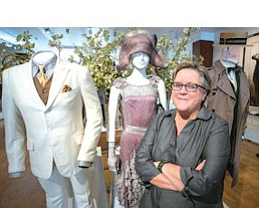 """Glamour: Barbara Hall at studio museum with costumes from """"The Great Gatsby."""""""