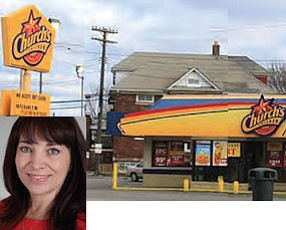 """Barrena: Church's Chicken audience """"is very diverse"""" (inset).  Church's Chicken in Detroit: new campaign likely to emphasize chain's community commitments"""
