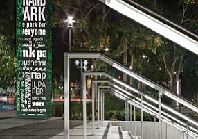 Lighted handrail: Intense Lighting's V-Rail product in use at Grand Park in Los Angeles