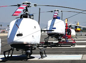 Tied Down: Van Nuys Airport, where many helicopters are based.