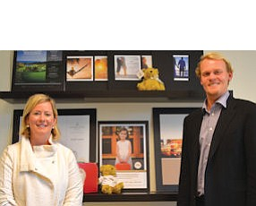 Lindsey and Casey Ueberroth at Newport Center: she took on chief executive duties last week, he's senior vice president of marketing