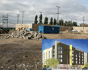Construction Zone: Site of planned SpringHill Suites on San Fernando Boulevard. Inset: Suite: Rendering of hotel.