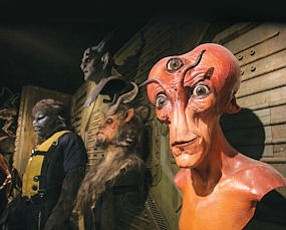Scary: Costumes fabricated for productions hang on the walls of Studio ADI in Chatsworth.