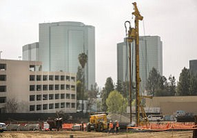 Hard Hat Zone: Pile driving goes on at the Topanga Canyon Boulevard project connecting the West Valley's two Westfield malls.