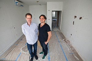 On Clock: David Green, left, and Juan Pablo Torre at downtown L.A. hotel project.