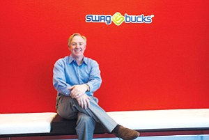 Catching Ride: Chuck Davis, chief executive of Swagbucks, at the Web surfing company's headquarters in El Segundo.