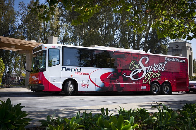 The new Rapid bus service will run from 5 a.m. to 11 p.m. seven days a week. (Photo courtesy of the San Diego Association of Governments)