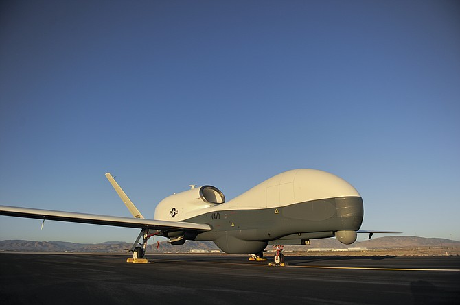 Northrop Grumman Corp.'s Triton, being developed for the U.S. Navy, is a variant of the Global Hawk spy drone. (photo courtesy of Northrop Grumman Corp.)