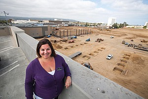 Building Up: Lindsay Hermance overlooks construction along the northern end of Del Amo Fashion Center.