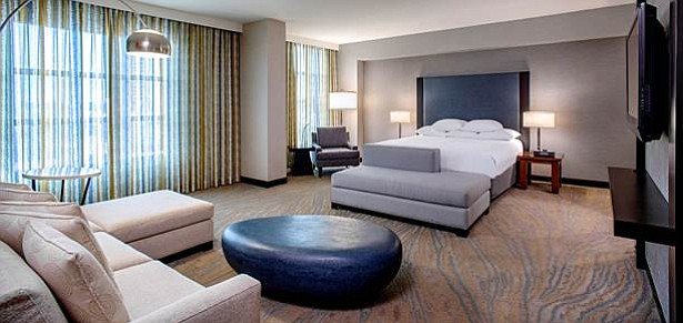 A renovated room at the Hyatt Regency La Jolla. 