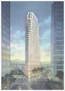 Sky High: Rendering of proposed 29-story building in Westwood.
