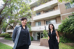 LENDING A HAND: Johanna Traynor, left, and Alexa Mizrahi of Loan Oak Fund, which financed a hard-money loan for the purchase of this Beverly Hills complex.