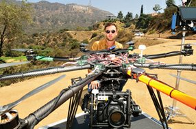 Buzzed About: Drone Dudes' Andrew Petersen with flying camera in the Hollywood Hills.