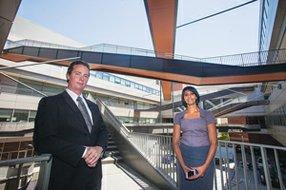 On Campus: Brendan Rauw and Neelam Sullivan at California NanoSystems Institute.