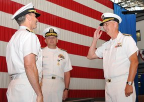 Rear Adm. David H. Lewis, right, reports to Chief of Naval Operations Adm. Jonathan Greenert his relief of Rear Adm. Patrick H. Brady, center, as commander of Space and Naval Warfare Systems Command (SPAWAR) -- photo by Rick Naystatt courtesy of U.S. Navy.