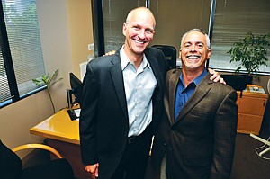 On Their Own: Mark Hafner, left, and Alexander Falo at Celtic Capital Corp.'s headquarters in Santa Monica.