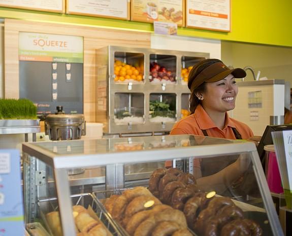 A Jamba Juice team member serves a customer -- photo courtesy of Jamba Juice Co.