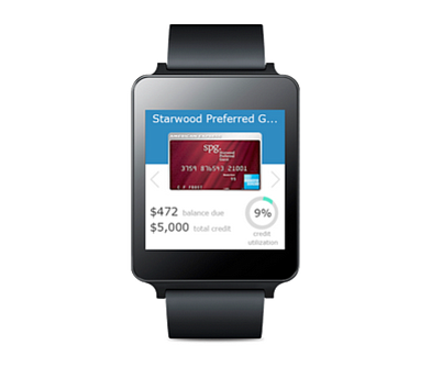 Users can activate key commands by voice, like check credit balances, on Wallaby for Android Wear. (Courtesy Wallaby Financial)