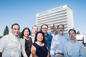 Looking for Lift: Jeff Lane, second from right, with team members at Northrop Grumman's division in Redondo Beach.