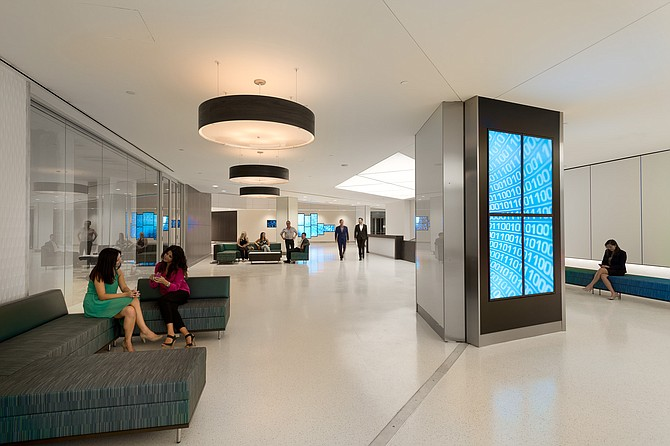 A remodeled lobby at 1 Columbia Place -- Photo courtesy of Emmes Realty Services