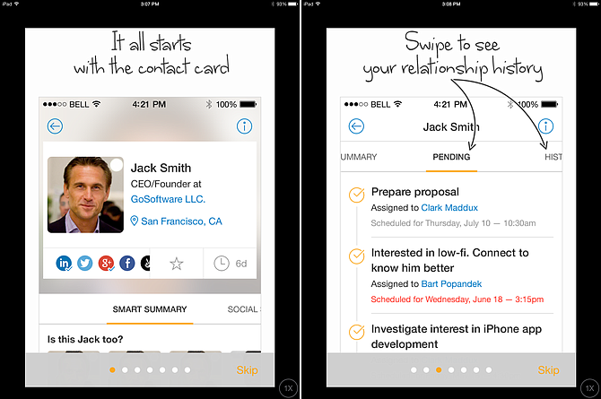 Nimble's Smart Contacts app stores your contacts' emails, social media accounts and relationship history in one location. (Courtesy Nimble)