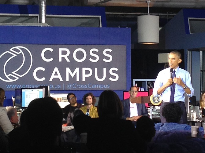 President Barack Obama fields questions from L.A. entrepreneurs at Cross Campus in Santa Monica. (Melissah Yang/Los Angeles Business Journal)
