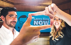 Reframing Television: Jason Rovou and Allison Glader on the set of Larry King's show at Ora TV's studio in Glendale.