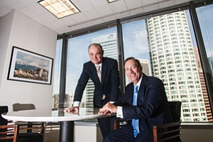 Linking Up: Jerry Porter and Jim Travers at Travers Realty's downtown L.A. office.