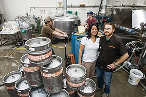Hops to It: Co-owners Ting Su and Jeremy Raub at their Eagle Rock Brewery.