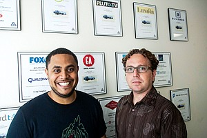 VCmatic: Anthony Saleh, left, and Adam Corey at QueensBridge in Century City.