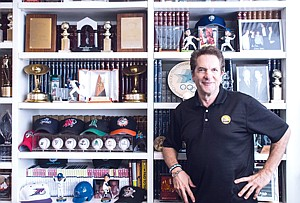 Going to Bat: Peter Guber with memorabilia at his office in Mid-City.