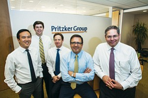 Western Outpost: Ceron Rhee, left, Evan Earley, Michael Dal Bello, Anthony Pritzker and Paul Carbone at Pritzker Group Private Capital's West L.A. office.