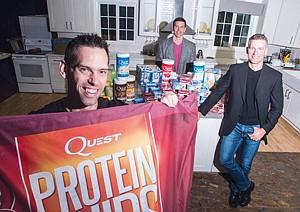 Pumped: Tom Bilyeu, left, Ron Penna and Michael Osborn at El Segundo's Quest.