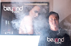 Cloudy Future: Co-founder Billy Chen at Beyond Vape's store in Downey.