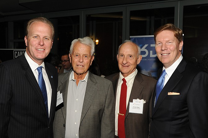Mayor Kevin Faulconer, left, Malin Burnham, Ernest Rady, and Greg McKee, CEO of CONNECT
